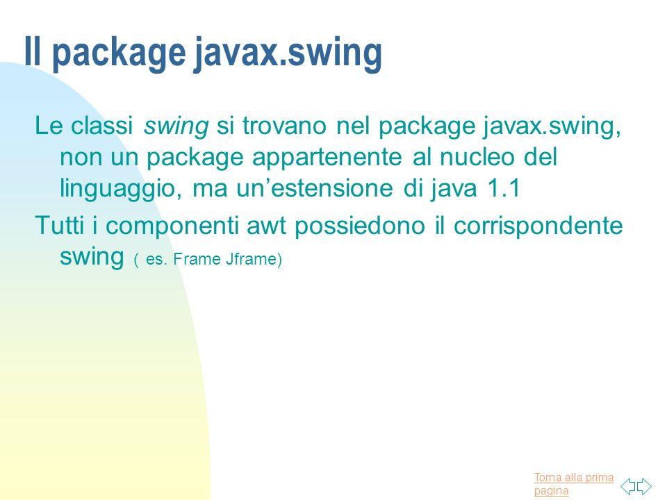 Torna alla prima pagina Il package javax.swing Le classi swing si trovano nel package javax.swing, non un package appartenente al nucleo del linguaggi