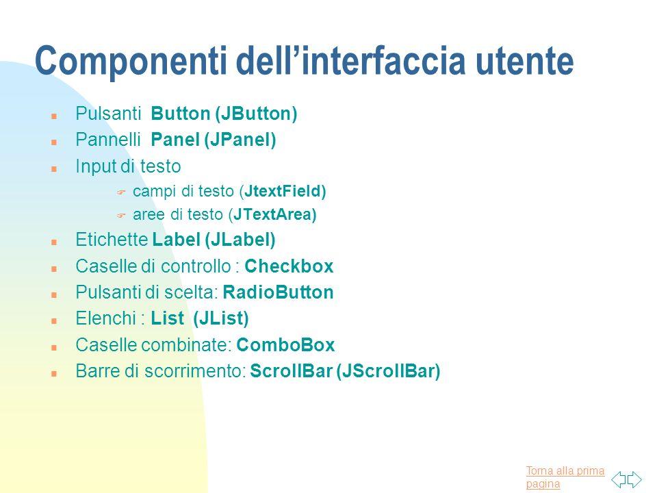 Torna alla prima pagina Componenti dellinterfaccia utente n Pulsanti Button (JButton) n Pannelli Panel (JPanel) n Input di testo F campi di testo (Jte