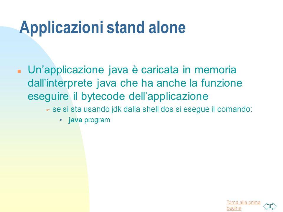 Torna alla prima pagina Applicazioni stand alone n Unapplicazione java è caricata in memoria dallinterprete java che ha anche la funzione eseguire il