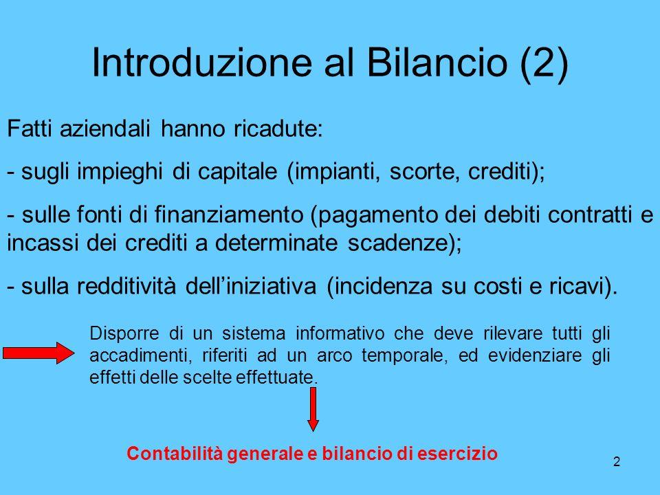 2 Introduzione al Bilancio (2) Fatti aziendali hanno ricadute: - sugli impieghi di capitale (impianti, scorte, crediti); - sulle fonti di finanziament