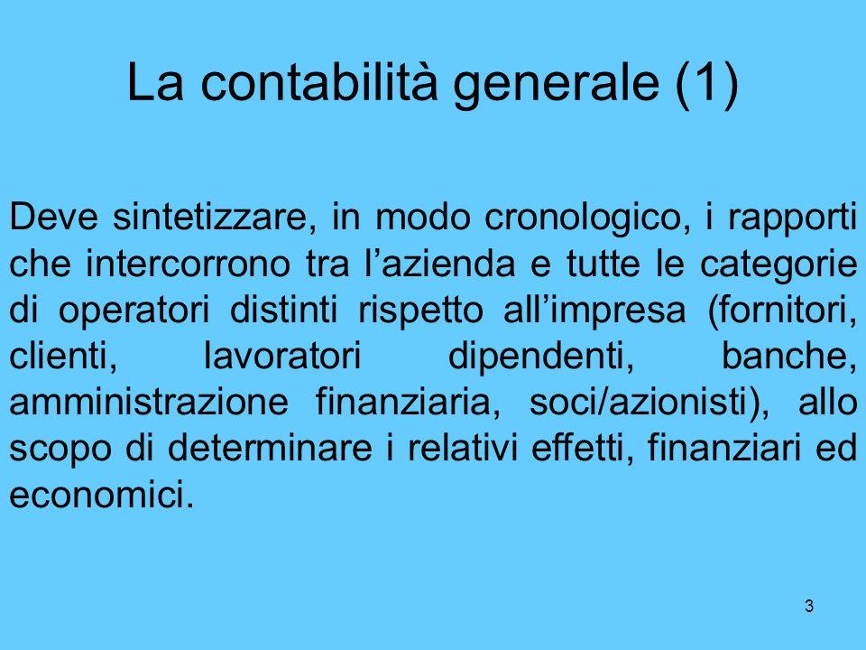 3 La contabilità generale (1) Deve sintetizzare, in modo cronologico, i rapporti che intercorrono tra lazienda e tutte le categorie di operatori disti