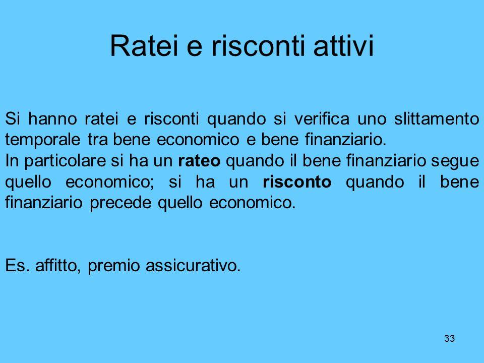 33 Ratei e risconti attivi Si hanno ratei e risconti quando si verifica uno slittamento temporale tra bene economico e bene finanziario. In particolar