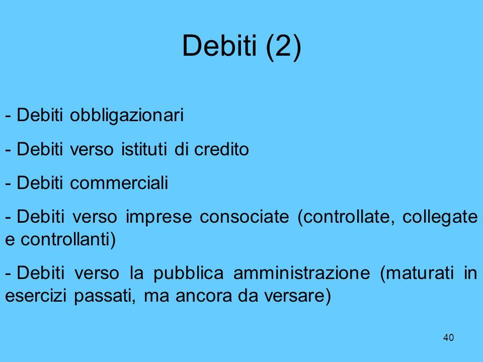 40 Debiti (2) - Debiti obbligazionari - Debiti verso istituti di credito - Debiti commerciali - Debiti verso imprese consociate (controllate, collegat