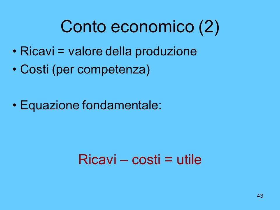43 Conto economico (2) Ricavi – costi = utile Ricavi = valore della produzione Costi (per competenza) Equazione fondamentale: