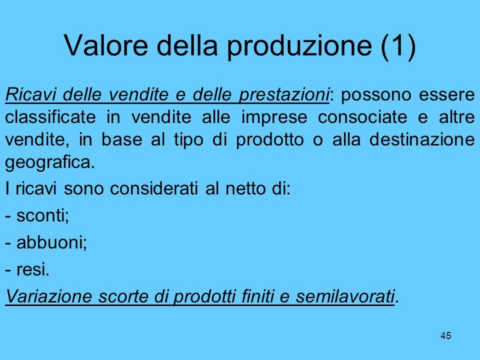 45 Valore della produzione (1) Ricavi delle vendite e delle prestazioni: possono essere classificate in vendite alle imprese consociate e altre vendit