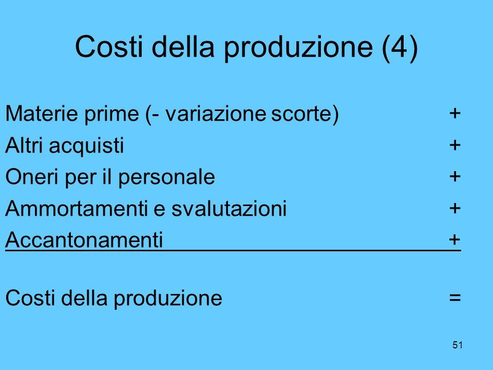 51 Costi della produzione (4) Materie prime (- variazione scorte)+ Altri acquisti+ Oneri per il personale + Ammortamenti e svalutazioni+ Accantonament