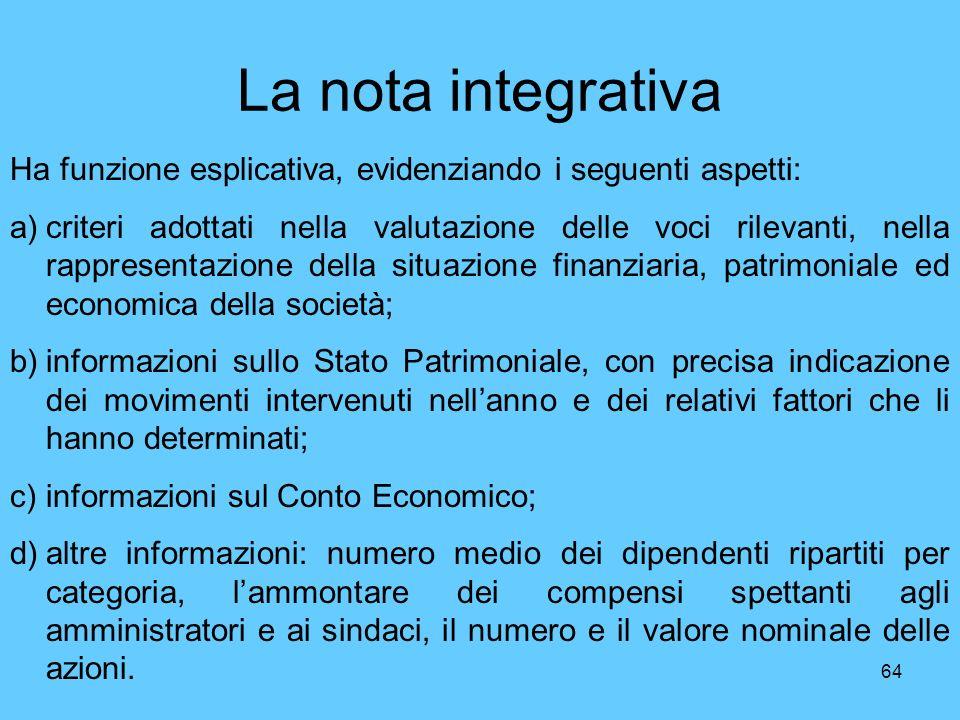 64 La nota integrativa Ha funzione esplicativa, evidenziando i seguenti aspetti: a)criteri adottati nella valutazione delle voci rilevanti, nella rapp