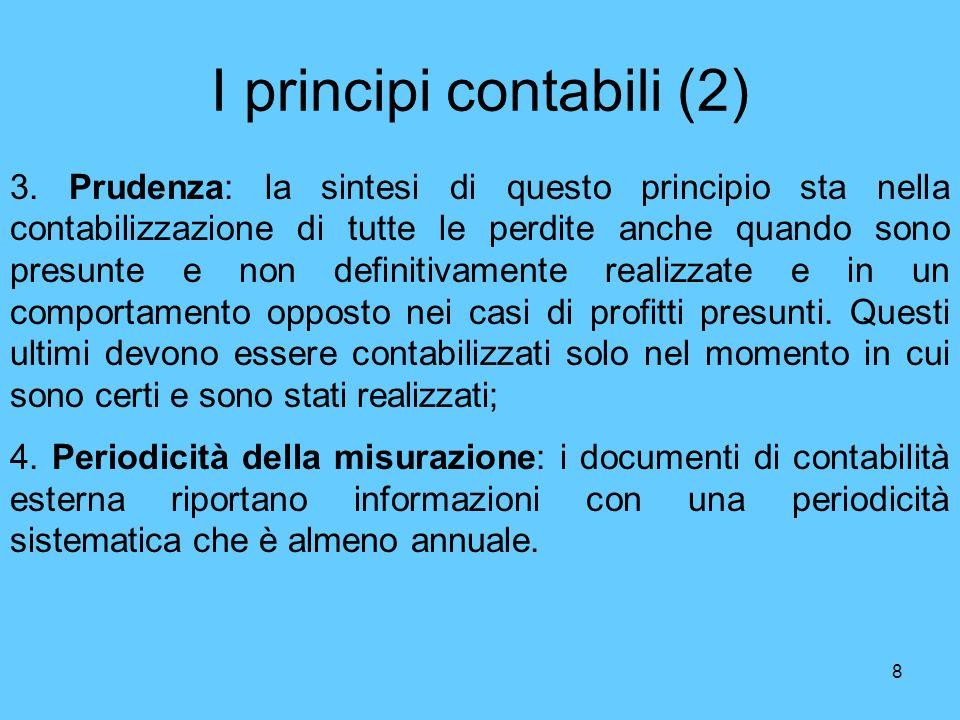 8 I principi contabili (2) 3. Prudenza: la sintesi di questo principio sta nella contabilizzazione di tutte le perdite anche quando sono presunte e no