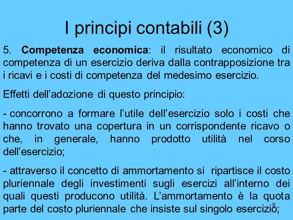 9 I principi contabili (3) 5. Competenza economica: il risultato economico di competenza di un esercizio deriva dalla contrapposizione tra i ricavi e