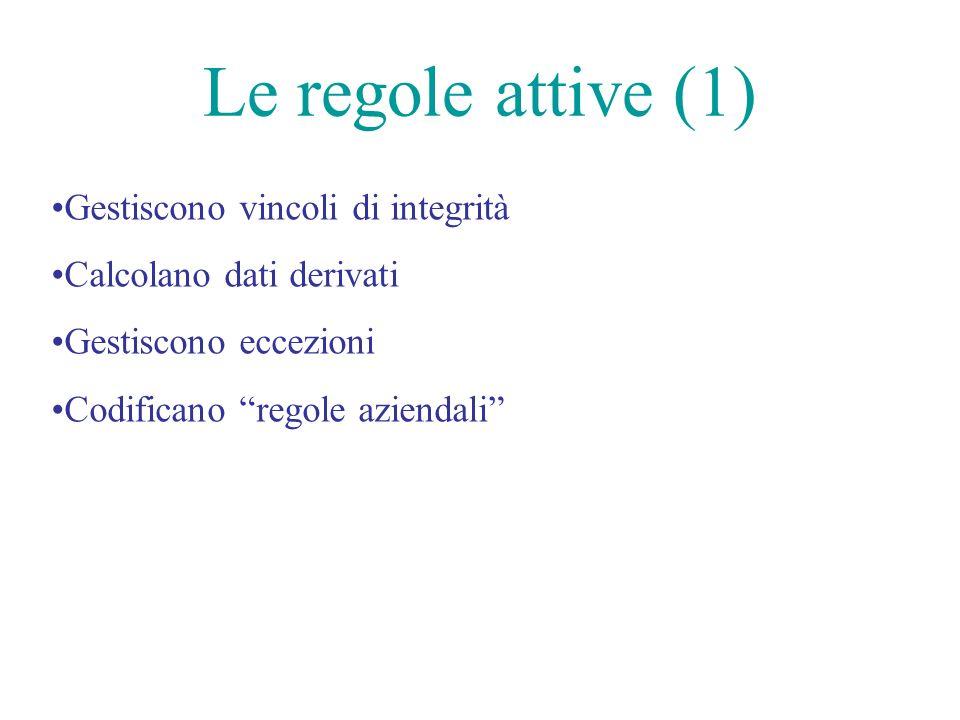 Le regole attive (1) Gestiscono vincoli di integrità Calcolano dati derivati Gestiscono eccezioni Codificano regole aziendali