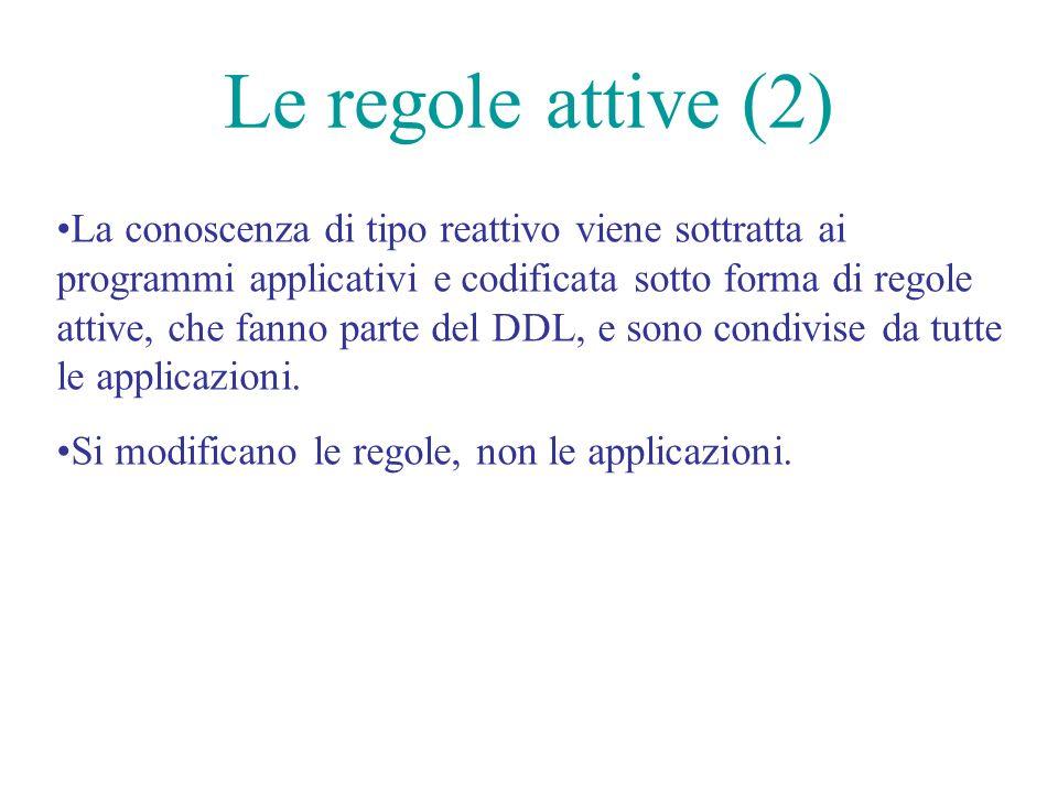Le regole attive (2) La conoscenza di tipo reattivo viene sottratta ai programmi applicativi e codificata sotto forma di regole attive, che fanno parte del DDL, e sono condivise da tutte le applicazioni.