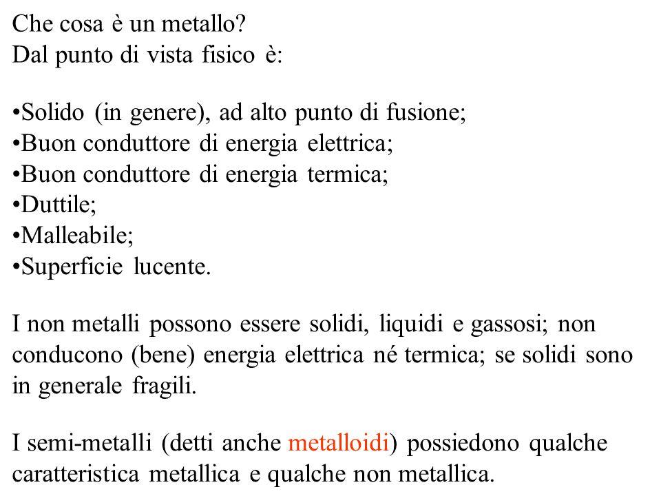 Che cosa è un metallo? Dal punto di vista fisico è: Solido (in genere), ad alto punto di fusione; Buon conduttore di energia elettrica; Buon conduttor
