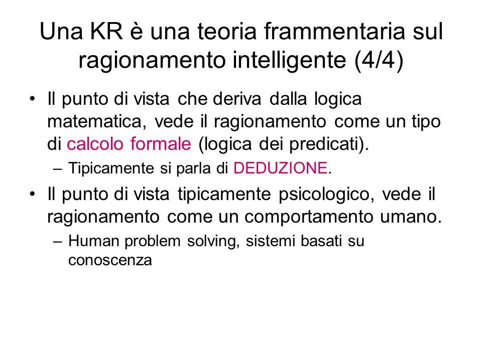 Una KR è una teoria frammentaria sul ragionamento intelligente (4/4) Il punto di vista che deriva dalla logica matematica, vede il ragionamento come u