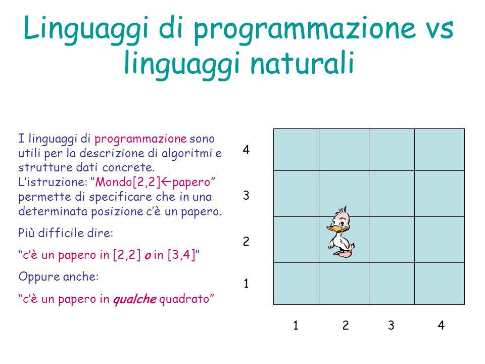 Linguaggi di programmazione vs linguaggi naturali 1234 1 4 3 2 I linguaggi di programmazione sono utili per la descrizione di algoritmi e strutture da