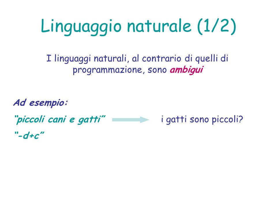 Linguaggio naturale (1/2) I linguaggi naturali, al contrario di quelli di programmazione, sono ambigui Ad esempio: piccoli cani e gatti -d+c i gatti s