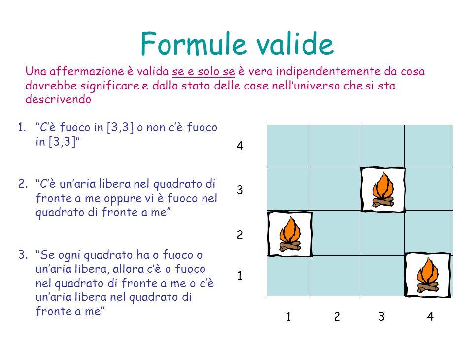 Formule valide 1.Cè fuoco in [3,3] o non cè fuoco in [3,3] 2.Cè unaria libera nel quadrato di fronte a me oppure vi è fuoco nel quadrato di fronte a m