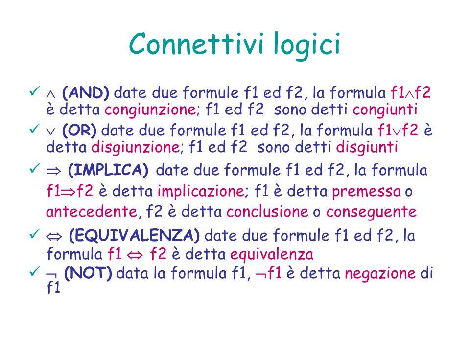 Connettivi logici (AND) date due formule f1 ed f2, la formula f1 f2 è detta congiunzione; f1 ed f2 sono detti congiunti (OR) date due formule f1 ed f2