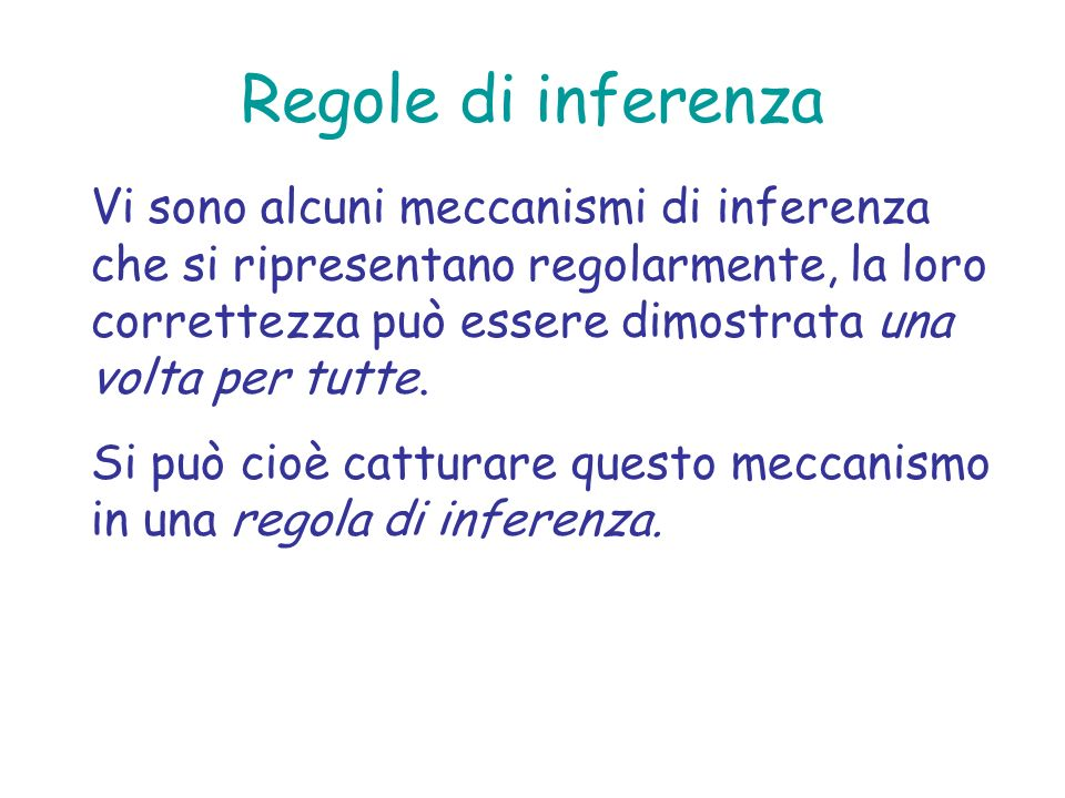 Regole di inferenza Vi sono alcuni meccanismi di inferenza che si ripresentano regolarmente, la loro correttezza può essere dimostrata una volta per t