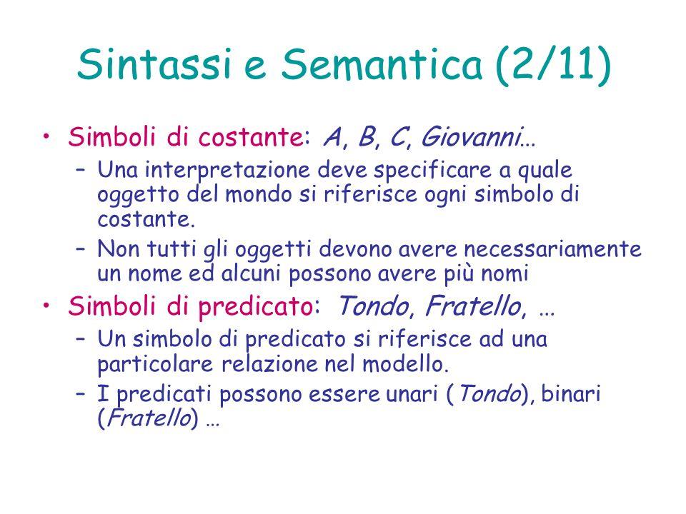 Sintassi e Semantica (2/11) Simboli di costante: A, B, C, Giovanni… –Una interpretazione deve specificare a quale oggetto del mondo si riferisce ogni
