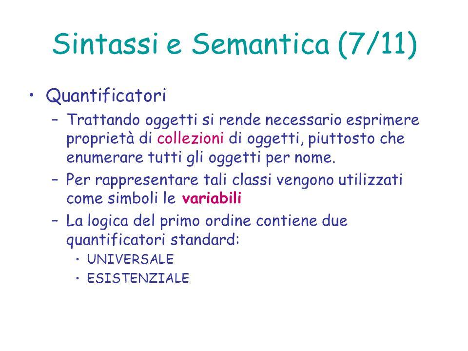 Sintassi e Semantica (7/11) Quantificatori –Trattando oggetti si rende necessario esprimere proprietà di collezioni di oggetti, piuttosto che enumerar