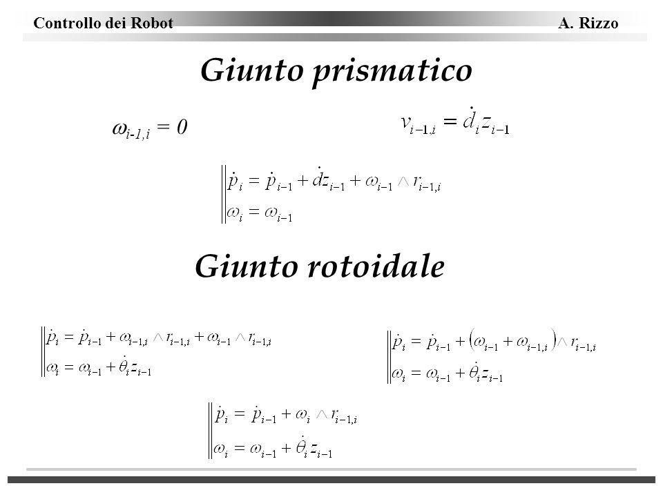 Controllo dei Robot A. Rizzo Giunto prismatico i-1,i = 0 Giunto rotoidale
