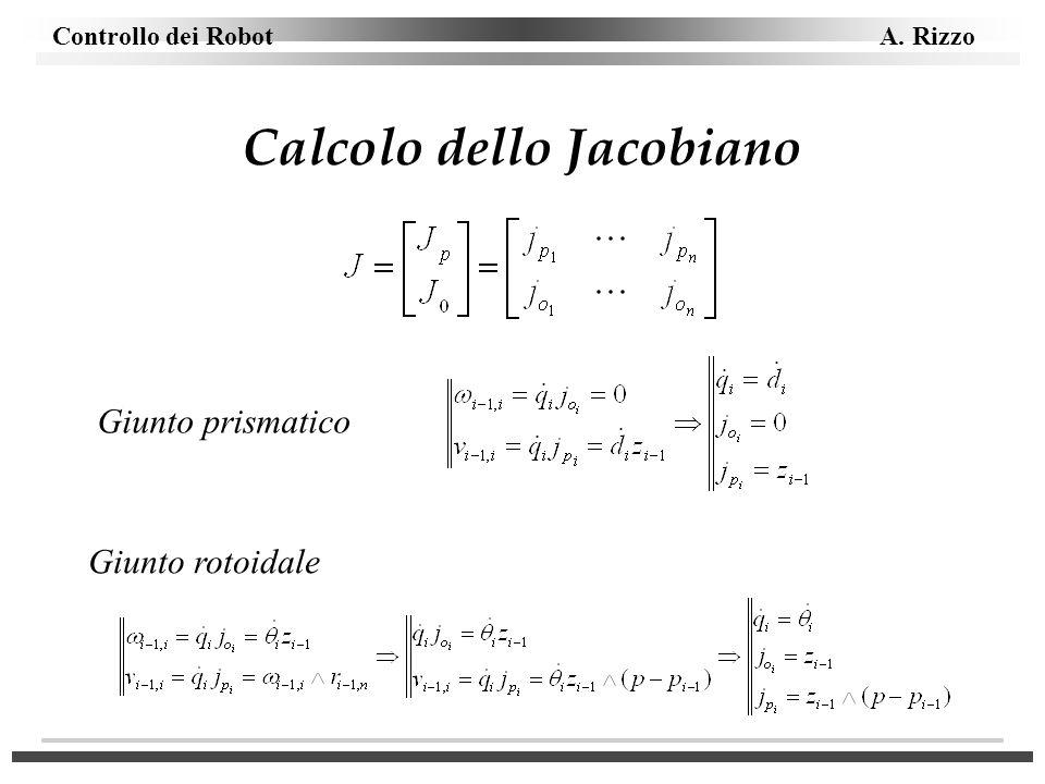 Controllo dei Robot A. Rizzo Calcolo dello Jacobiano Giunto prismatico Giunto rotoidale