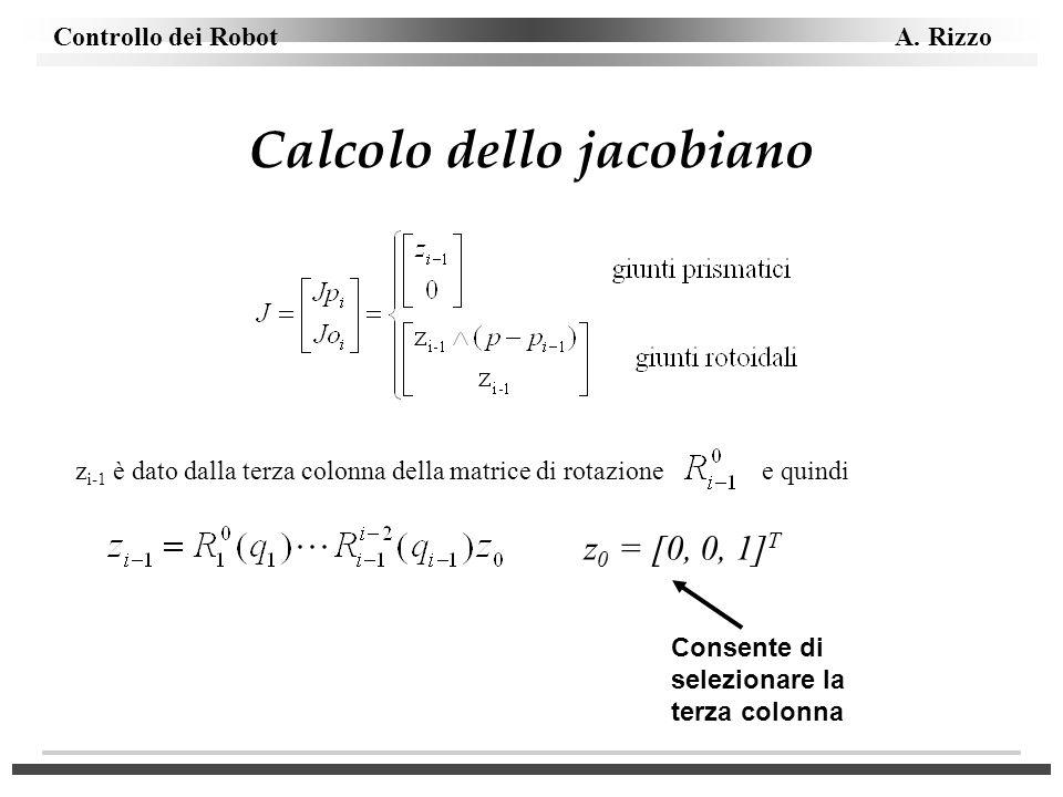 Controllo dei Robot A. Rizzo Calcolo dello jacobiano z i-1 è dato dalla terza colonna della matrice di rotazione e quindi z 0 = [0, 0, 1] T Consente d