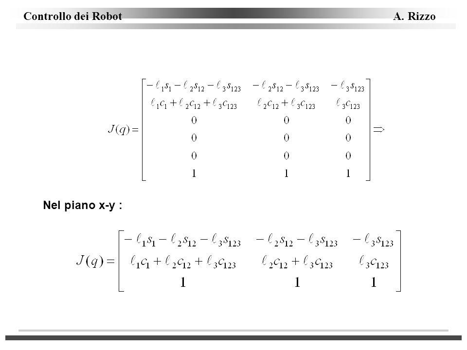 Controllo dei Robot A. Rizzo Nel piano x-y :