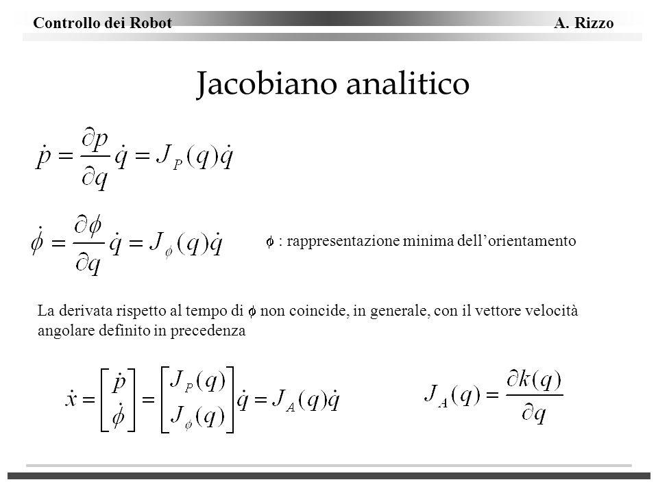 Controllo dei Robot A. Rizzo Jacobiano analitico La derivata rispetto al tempo di non coincide, in generale, con il vettore velocità angolare definito
