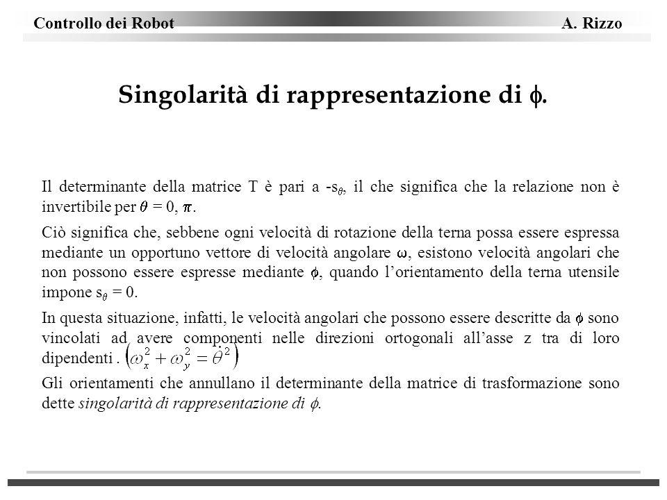 Singolarità di rappresentazione di. Il determinante della matrice T è pari a -s, il che significa che la relazione non è invertibile per = 0,. Ciò sig