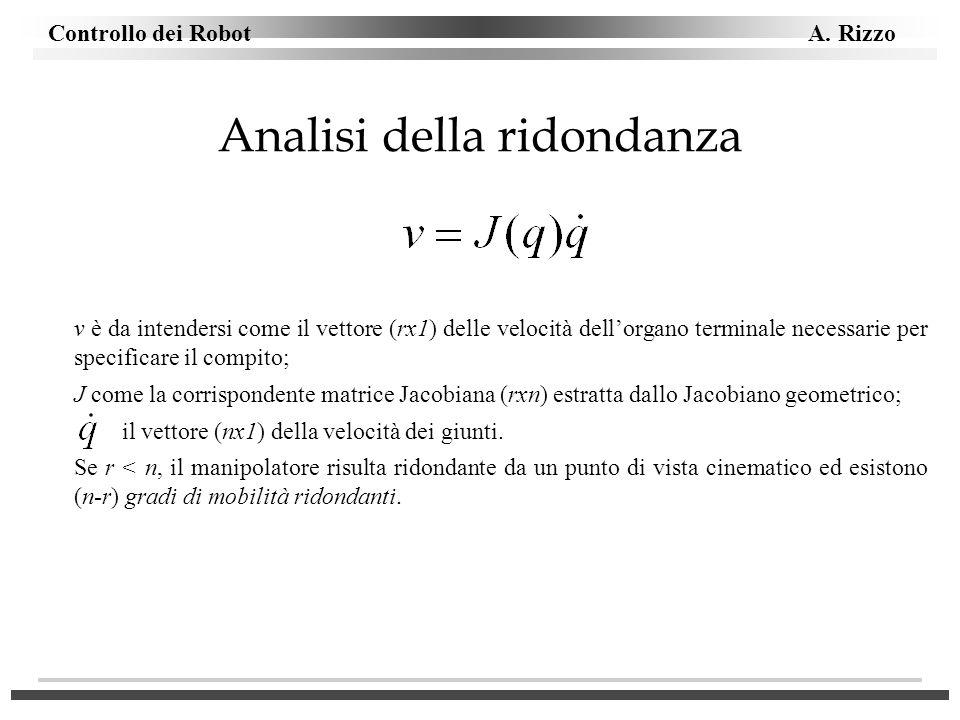 Controllo dei Robot A. Rizzo Analisi della ridondanza v è da intendersi come il vettore (rx1) delle velocità dellorgano terminale necessarie per speci