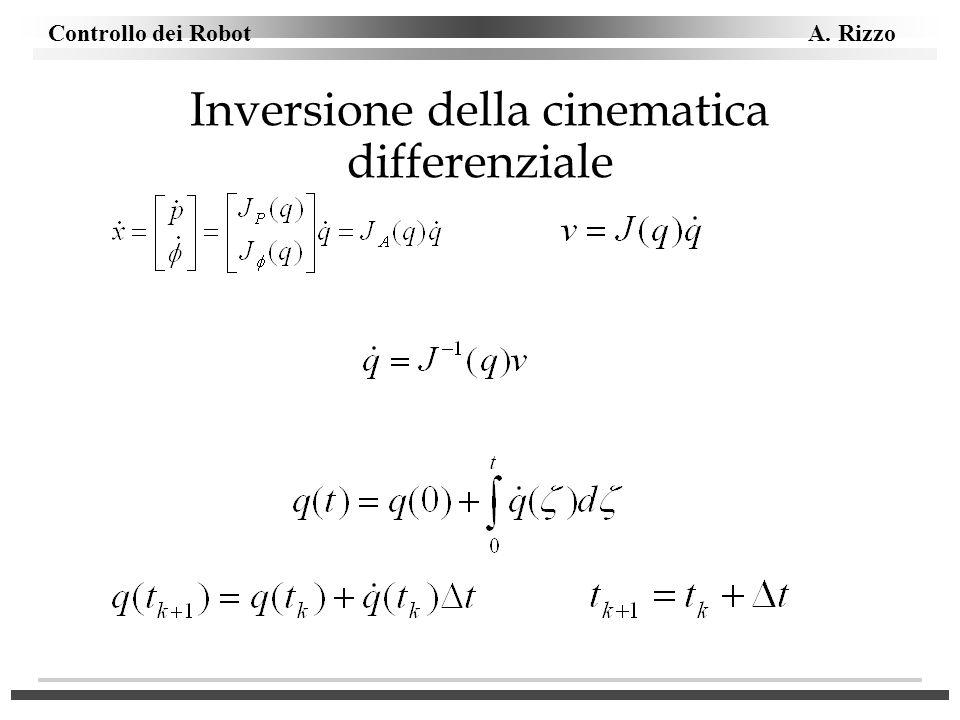Controllo dei Robot A. Rizzo Inversione della cinematica differenziale