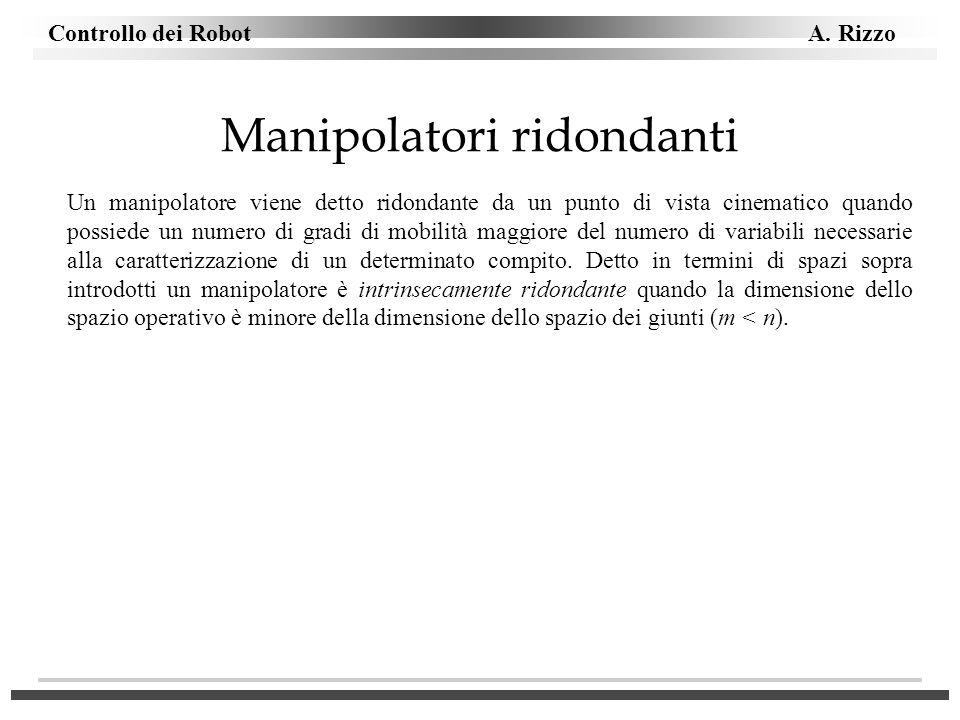 Controllo dei Robot A. Rizzo Manipolatori ridondanti Un manipolatore viene detto ridondante da un punto di vista cinematico quando possiede un numero