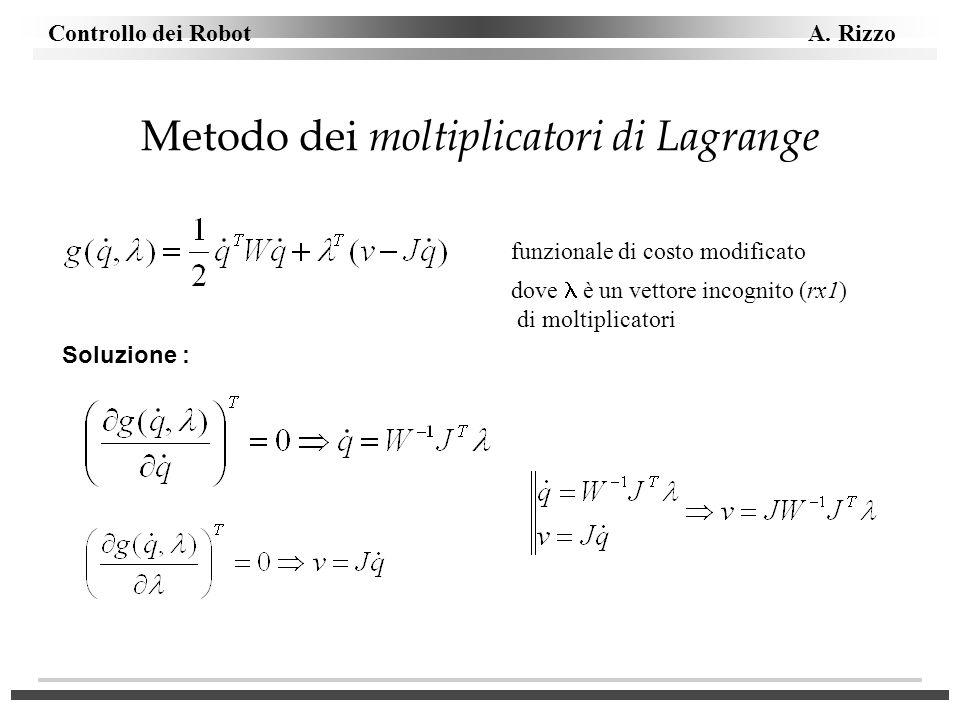 Controllo dei Robot A. Rizzo Metodo dei moltiplicatori di Lagrange funzionale di costo modificato dove è un vettore incognito (rx1) di moltiplicatori