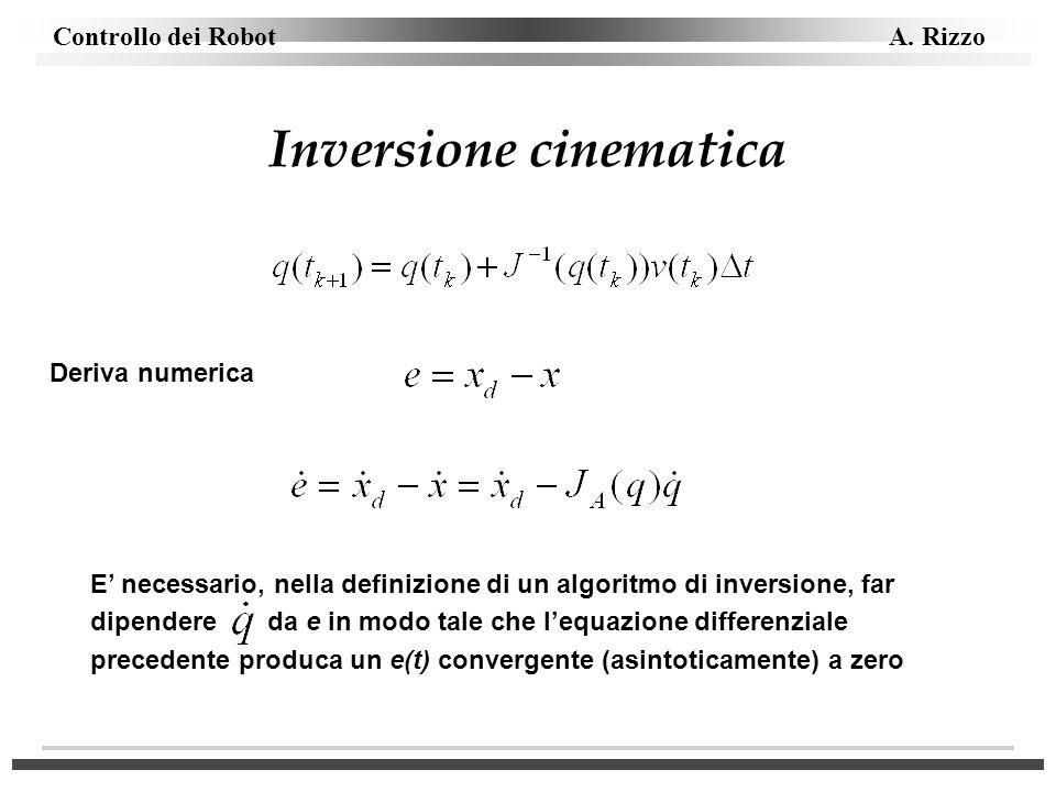 Controllo dei Robot A. Rizzo Inversione cinematica Deriva numerica E necessario, nella definizione di un algoritmo di inversione, far dipendere da e i