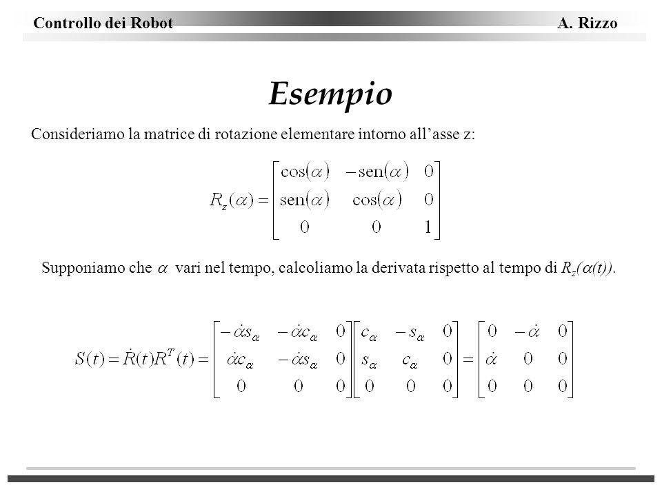Controllo dei Robot A. Rizzo Esempio Consideriamo la matrice di rotazione elementare intorno allasse z: Supponiamo che vari nel tempo, calcoliamo la d