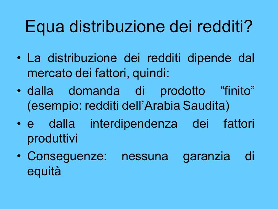 Equa distribuzione dei redditi? La distribuzione dei redditi dipende dal mercato dei fattori, quindi: dalla domanda di prodotto finito (esempio: reddi
