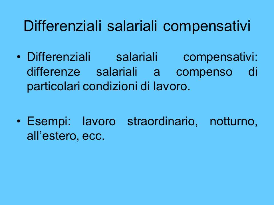 Differenziali salariali compensativi Differenziali salariali compensativi: differenze salariali a compenso di particolari condizioni di lavoro. Esempi