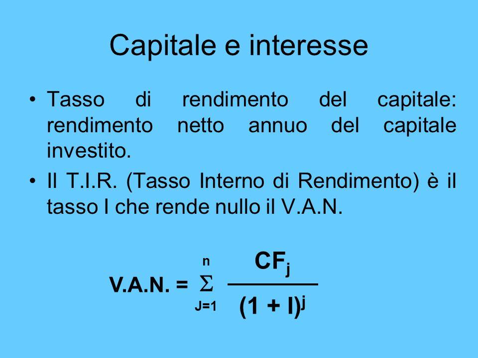 Capitale e interesse Tasso di rendimento del capitale: rendimento netto annuo del capitale investito. Il T.I.R. (Tasso Interno di Rendimento) è il tas