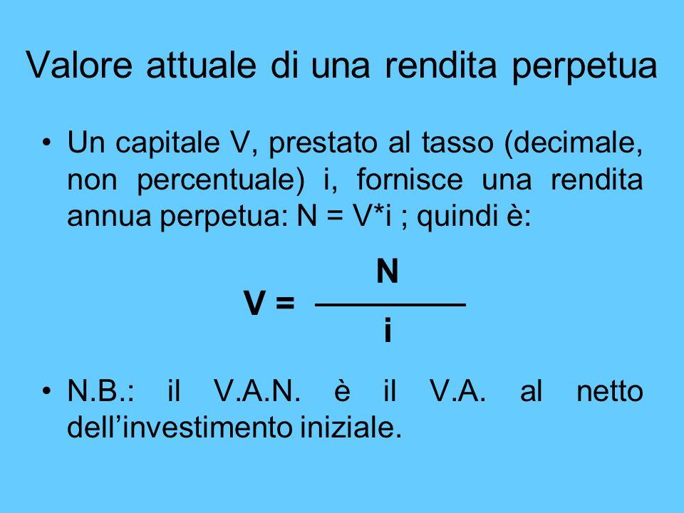 Valore attuale di una rendita perpetua Un capitale V, prestato al tasso (decimale, non percentuale) i, fornisce una rendita annua perpetua: N = V*i ;