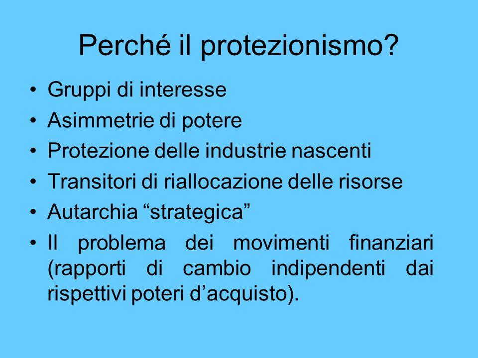Perché il protezionismo? Gruppi di interesse Asimmetrie di potere Protezione delle industrie nascenti Transitori di riallocazione delle risorse Autarc