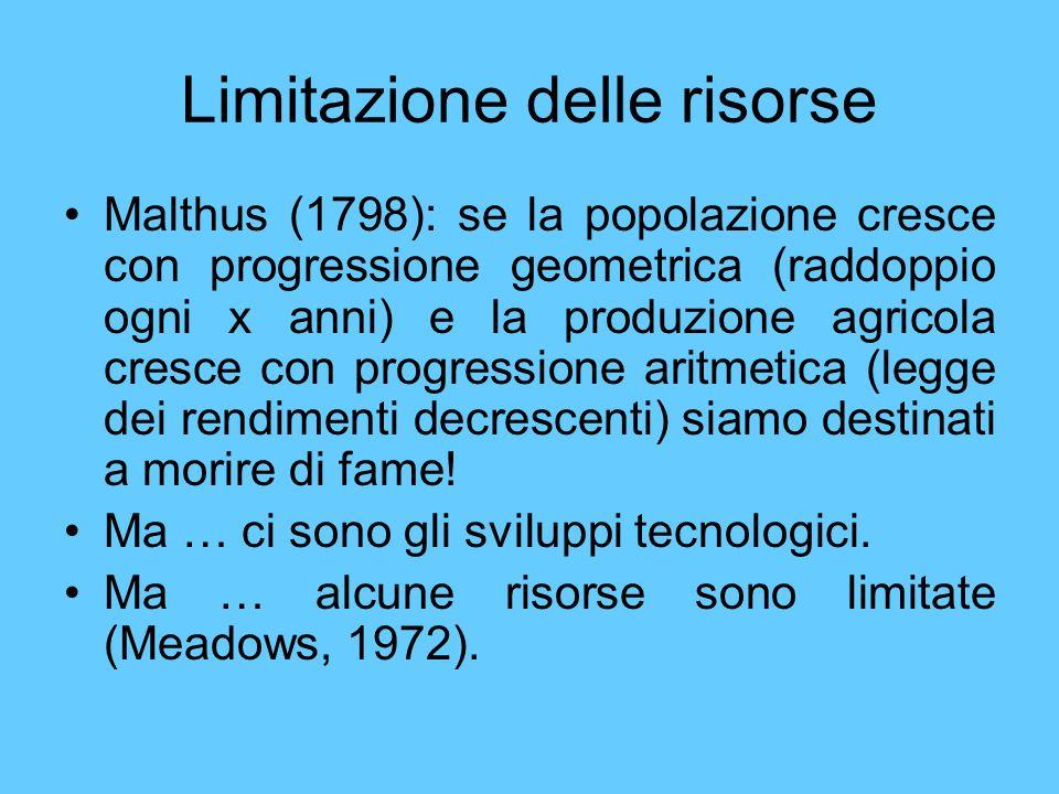 Limitazione delle risorse Malthus (1798): se la popolazione cresce con progressione geometrica (raddoppio ogni x anni) e la produzione agricola cresce