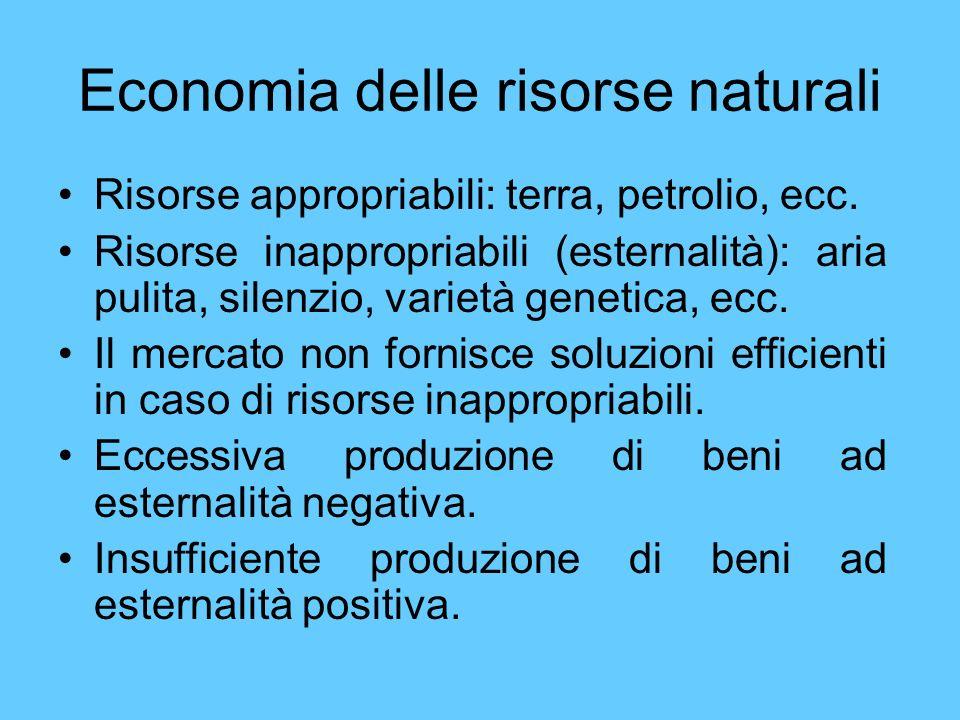Economia delle risorse naturali Risorse appropriabili: terra, petrolio, ecc. Risorse inappropriabili (esternalità): aria pulita, silenzio, varietà gen