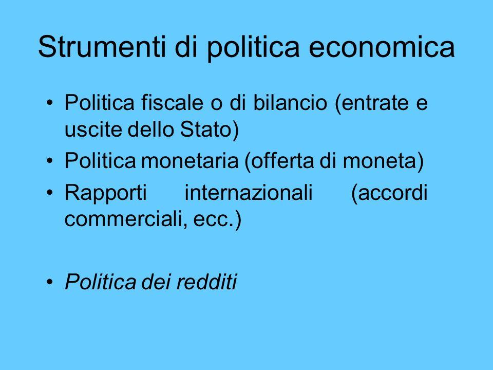 Strumenti di politica economica Politica fiscale o di bilancio (entrate e uscite dello Stato) Politica monetaria (offerta di moneta) Rapporti internaz