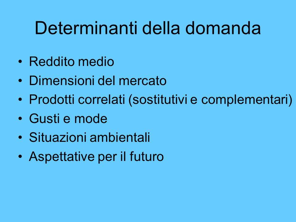 Determinanti della domanda Reddito medio Dimensioni del mercato Prodotti correlati (sostitutivi e complementari) Gusti e mode Situazioni ambientali As