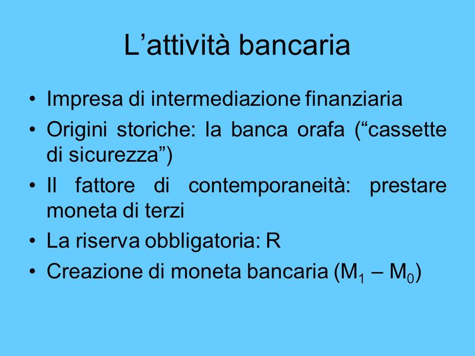 Lattività bancaria Impresa di intermediazione finanziaria Origini storiche: la banca orafa (cassette di sicurezza) Il fattore di contemporaneità: pres