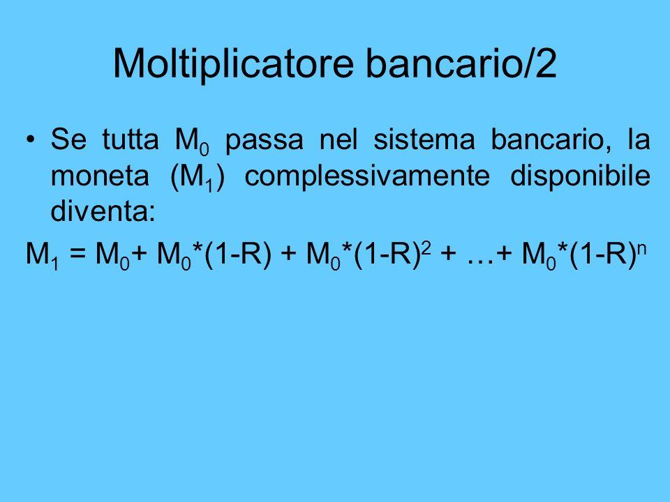 Moltiplicatore bancario/2 Se tutta M 0 passa nel sistema bancario, la moneta (M 1 ) complessivamente disponibile diventa: M 1 = M 0 + M 0 *(1-R) + M 0