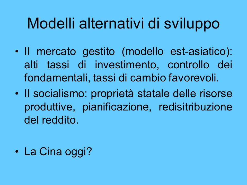 Modelli alternativi di sviluppo Il mercato gestito (modello est-asiatico): alti tassi di investimento, controllo dei fondamentali, tassi di cambio fav