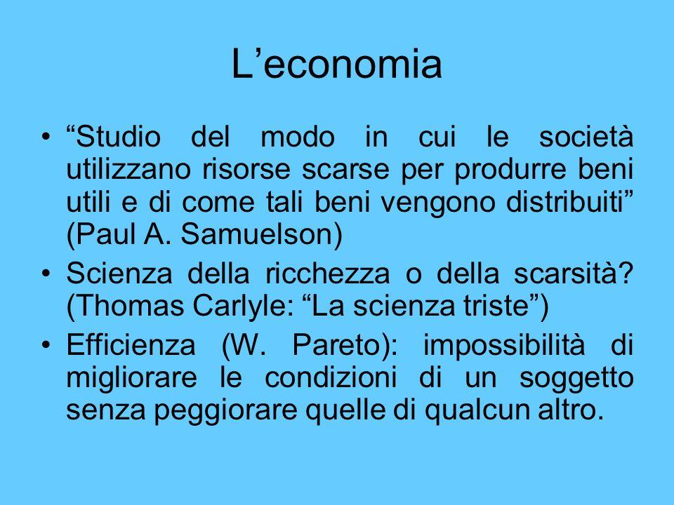 Leconomia Studio del modo in cui le società utilizzano risorse scarse per produrre beni utili e di come tali beni vengono distribuiti (Paul A. Samuels