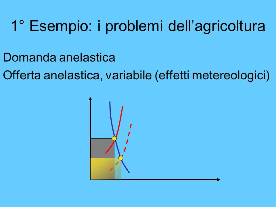 1° Esempio: i problemi dellagricoltura Domanda anelastica Offerta anelastica, variabile (effetti metereologici)